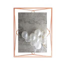 Cadre photo en métal entre deux-verres Prisma. A poser ou à accrocher. Pour 1 photo 13x18cm. Coloris cuivre.