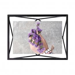 Cadre photo en métal entre deux-verres Prisma. A poser ou à accrocher. Pour 1 photo 10x15cm. Coloris Noir